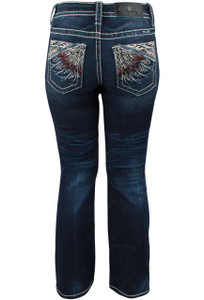 Miss Me Feather Embroidered Mid-Rise Bootcut Jeans - Back