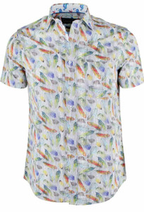 David Smith Australia Short Sleeve Paradise Feather Print Shirt