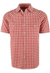Ryan Michael Short Sleeve Arrow Dobby Plaid - Paprika - Front