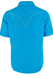 Ryan Michael Short Sleeve Solid Silk Linen Snap Shirt - Bluejay
