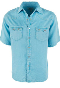 Ryan Michael Short Sleeve Solid Linen Snap Shirt - Cloud