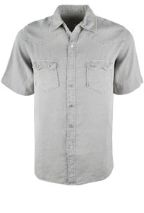 Ryan Michael Short Sleeve Solid Linen Snap Shirt - Stone