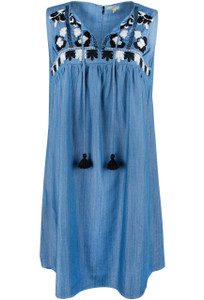 Mystree Embroidered Sleeveless Dress - Front
