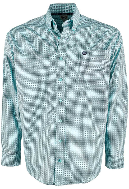 Cinch Light Blue Web Print Shirt - Front