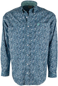 Cinch Blue and White Paisley Print Shirt - Front