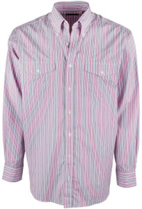 Pinto Ranch YY Collection Red and Light Blue Stripe Shirt - Front