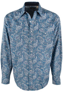 Stetson Blue Ornate Paisley Print Snap Shirt - Front