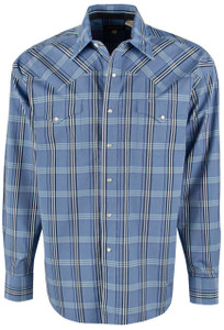Stetson Blue Cold Spring Plaid Snap Shirt - Front