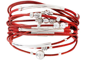 WTW Designs Sterling Silver on Red Leather Bracelet
