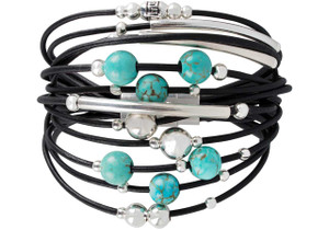 WTW Designs Black, Turquoise and Silver Bracelet