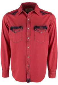 Ryan Michael Embroidered and Tinted Snap Shirt - Cayenne - Front
