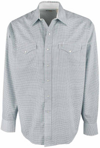 Stetson Blue X's and O's Geo Print Snap Shirt - Front