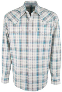 Stetson Blue Aqua Beach Plaid Snap Shirt - Front