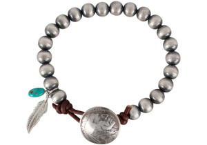 Turquoise Moon Sterling Silver with Buffalo Coin Bracelet