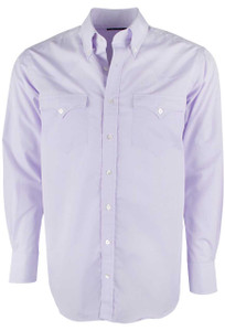 Lyle Lovett for Hamilton Purple Poplin Micro Check Shirt - Front