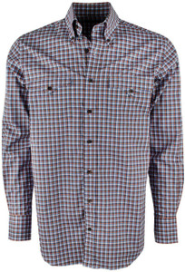 Lyle Lovett for Hamilton Rust with Blue and Navy Poplin Check Shirt  - Front