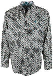 Cinch Multi Teal and Khaki Foulard Print Shirt - Front