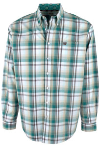 Cinch Khaki, Teal and White Plaid Shirt - Front