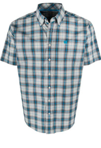 Cinch Turquoise and Khaki Plaid Short Sleeve Shirt