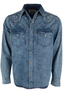 Ryan Michael Embroidered Indigo Print Snap Shirt - Front