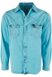 Ryan Michael Tinted Indigo Snap Shirt - Neon Blue - Front