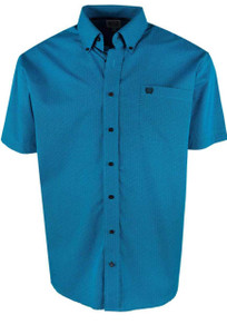 Cinch Turquoise Tread Print Short Sleeve Shirt