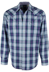 Stetson Blue and Purple Garnet Ombre Plaid Snap Shirt - Front