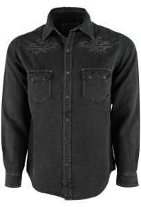 Ryan Michael Embroidered Silk Linen Snap Shirt - Night - Front