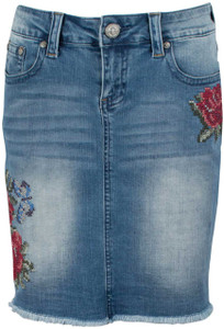 Grace in L.A. Red Roses Denim Skirt - Front