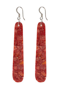 DK Designs Long Red Coral Slab Earrings