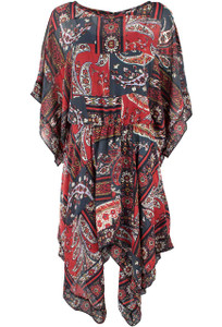 Vintage Collection Red and Black Tapestry Dress - Front