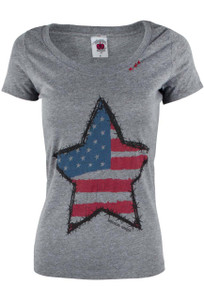 Bohemian Cowgirl Star American Flag Tee - Front
