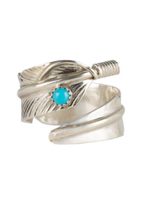 Turquoise Moon Sterling Silver Feather Wrap Ring - Front