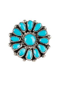 Turquoise Moon Blue Turquoise Floral Cluster Ring  - Front