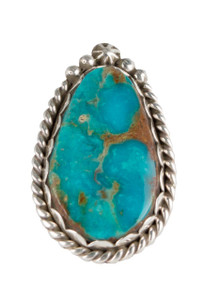 Turquoise Moon Green Turquoise with Matrix Teardrop Ring - Size 7.5 - Front