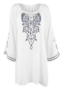 Monoreno Flutter Self-Tie Keyhole Embroidered Tunic - Front
