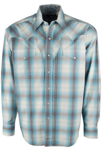 Stetson Blue Water Ombre Plaid Snap Shirt - Front