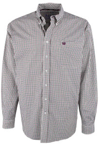 Cinch Cream, Burgundy and Black Check Print Shirt  - Front