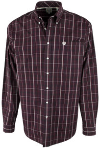 Cinch Burgundy, Black and Cream Plaid Shirt - Front