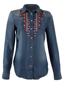 Grace in L.A. Red, White and Blue Denim Shirt - Front