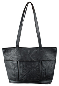 Leaders in Leather Three Pocket Tote - Black - Front