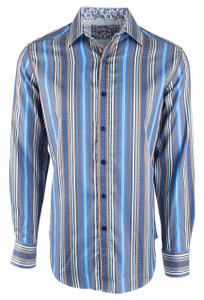 Robert Graham Taino Two Blue Stripe Sport Shirt - Front