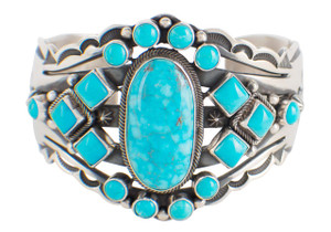 Turquoise Moon Blue Turquoise Kingman Cluster Cuff - Front