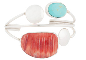 Turquoise Moon Spiney Oyster and Turquoise Cuff - Front
