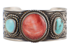 Turquoise Moon Blue Turquoise and Spiney Oyster Cuff