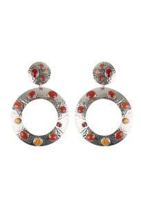 Turquoise Moon Large Hammered Sterling Silver with Coral and Spinel Oyster Earrings