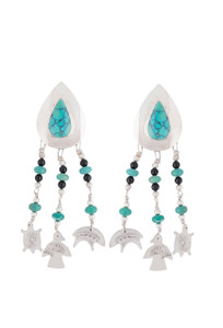 Turquoise Moon Turquoise Teardrop Dangle Earrings