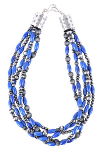 Turquoise Moon 5 Strand Lapis and Sterling Silver Bead Necklace