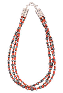 Turquoise Moon 3 Strand Italian Coral Necklace