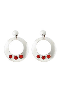 Turquoise Moon Sterling Silver Cutout Disc with Coral Earrings
